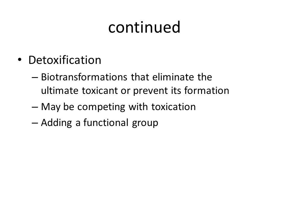 continued Detoxification