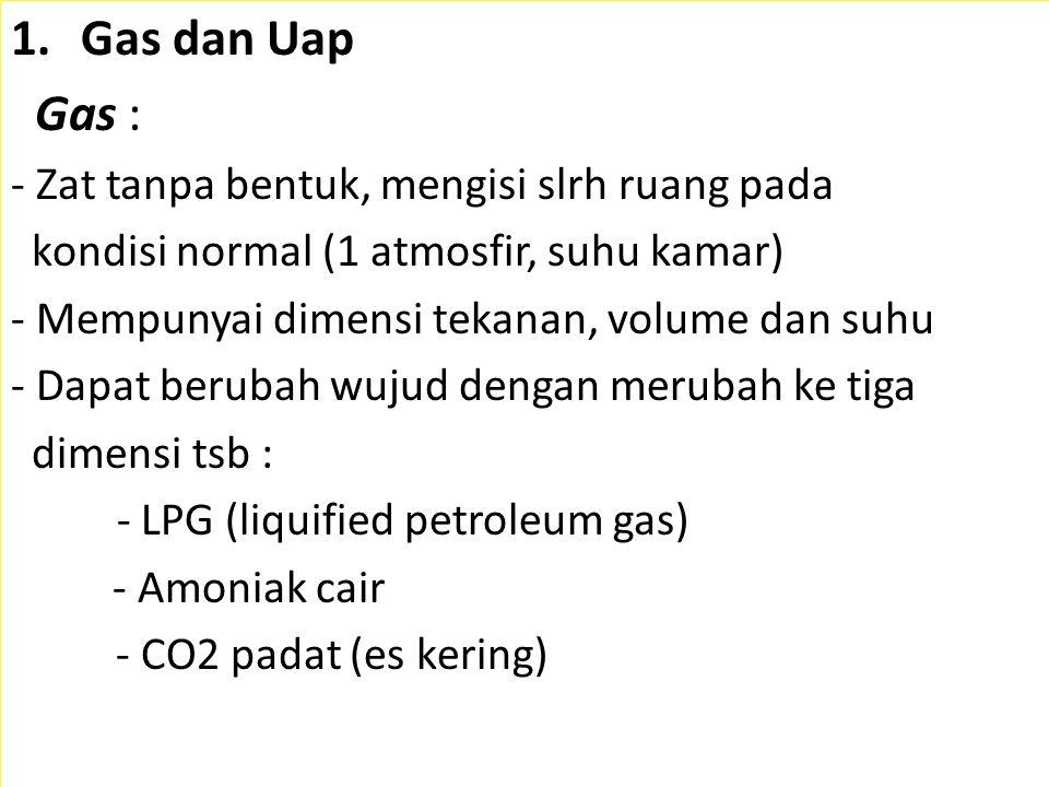 Gas dan Uap Gas : - Zat tanpa bentuk, mengisi slrh ruang pada