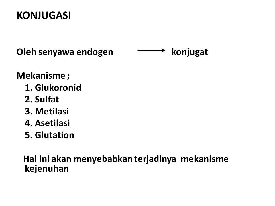 KONJUGASI Oleh senyawa endogen konjugat Mekanisme ; 1. Glukoronid