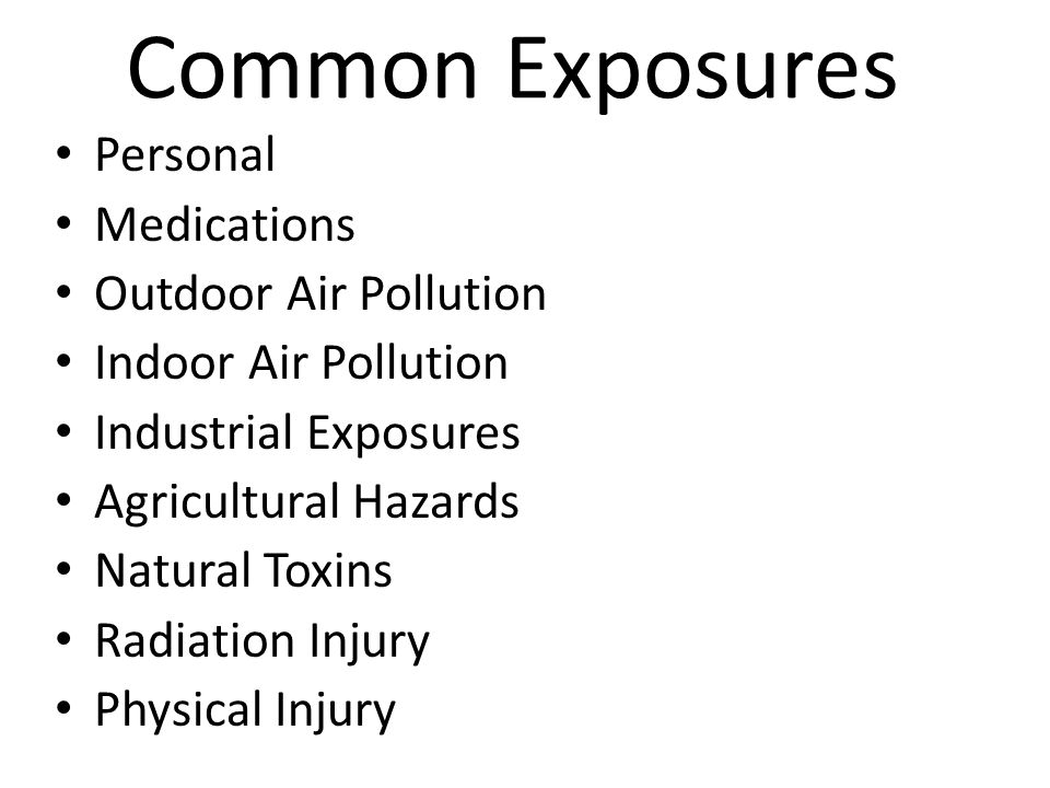 Common Exposures Personal Medications Outdoor Air Pollution