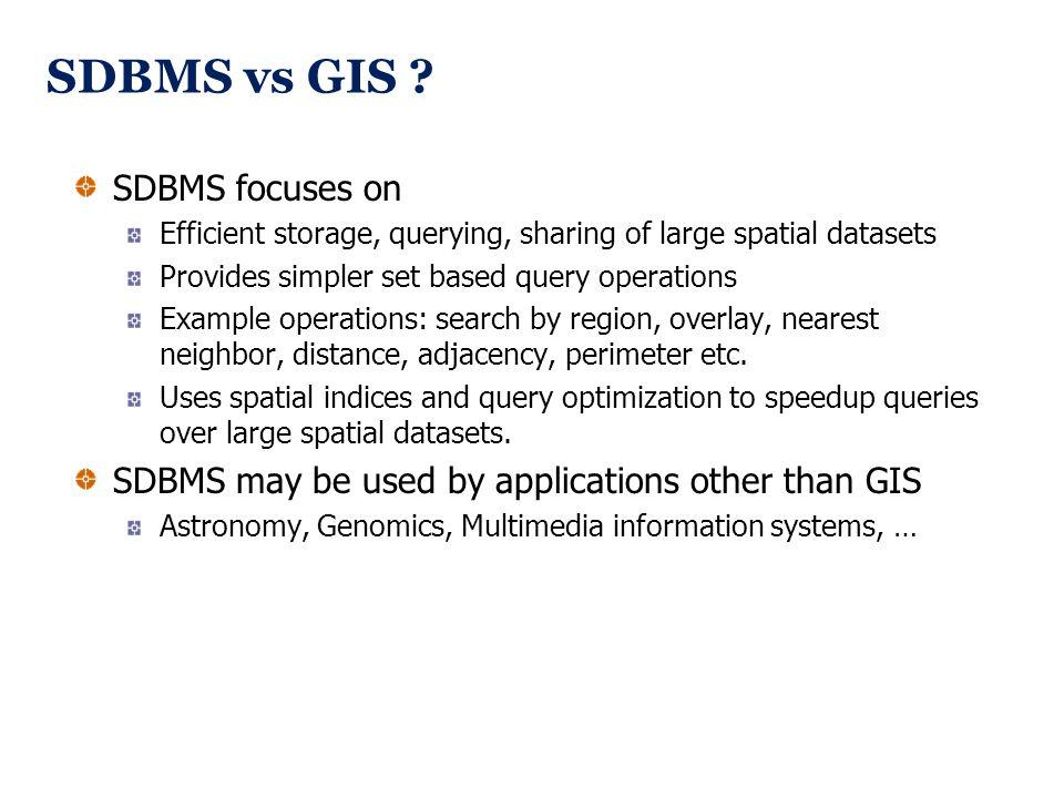 SDBMS vs GIS SDBMS focuses on
