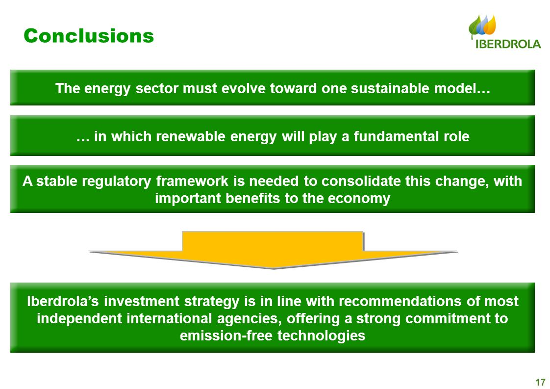 Conclusions The energy sector must evolve toward one sustainable model… … in which renewable energy will play a fundamental role.