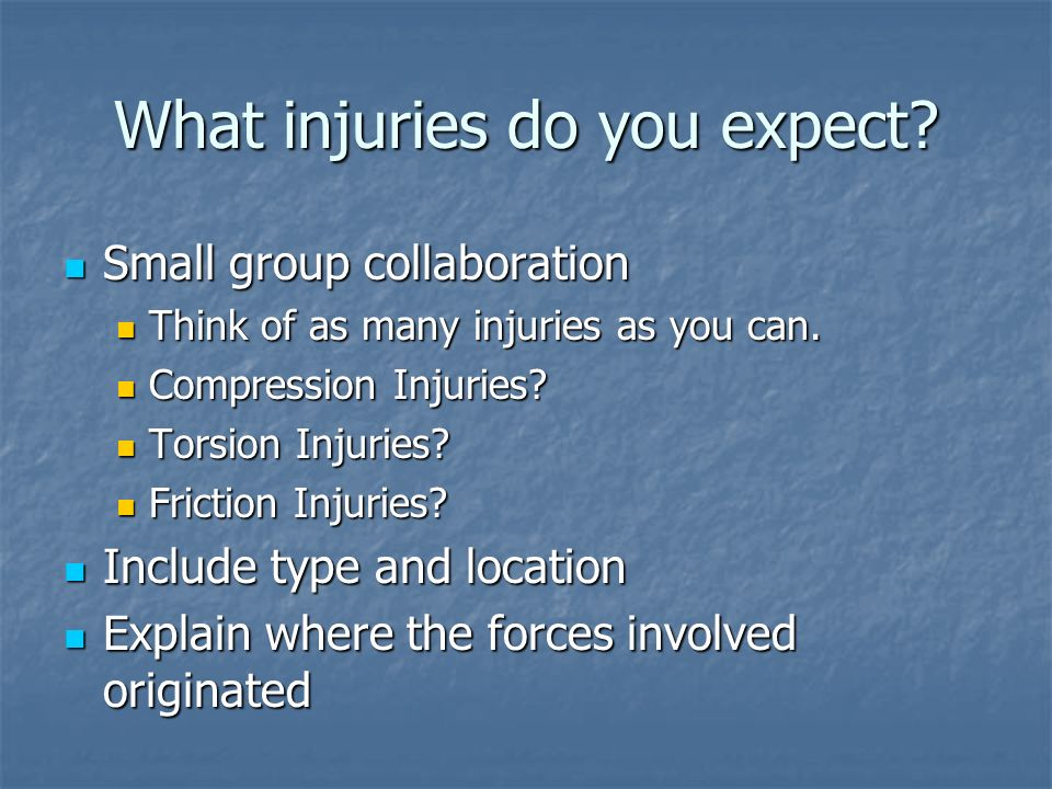 What injuries do you expect