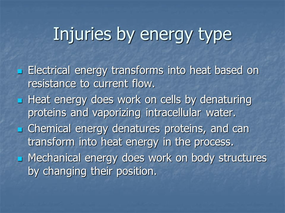 Injuries by energy type