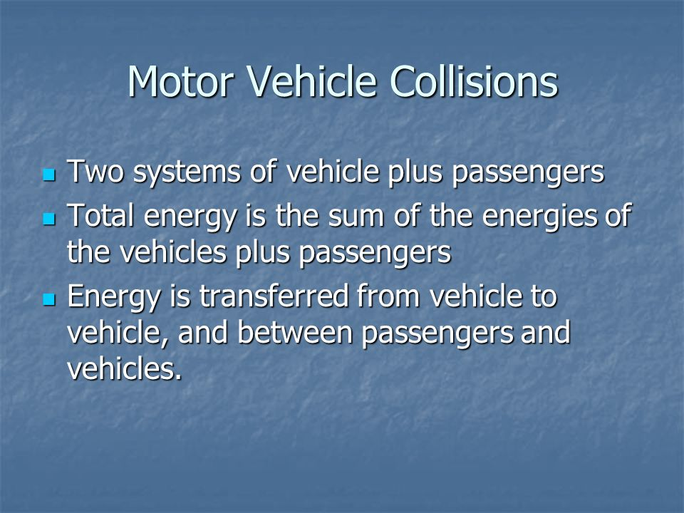Motor Vehicle Collisions