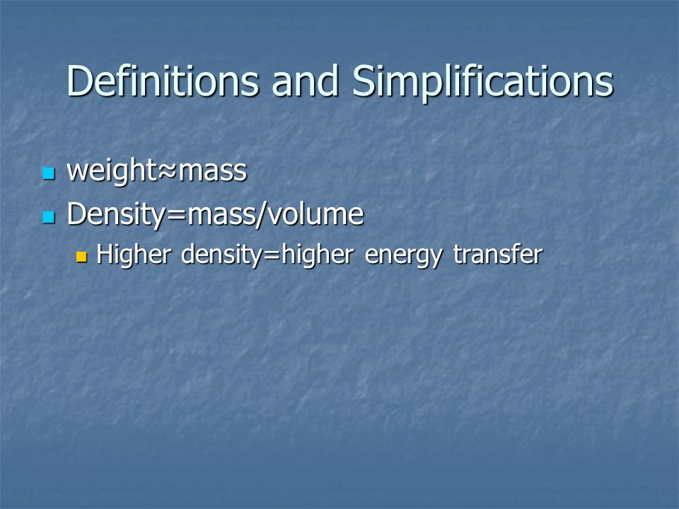 Definitions and Simplifications