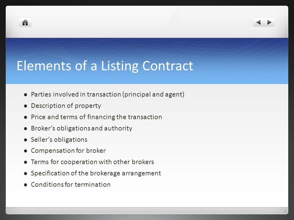 Elements of a Listing Contract