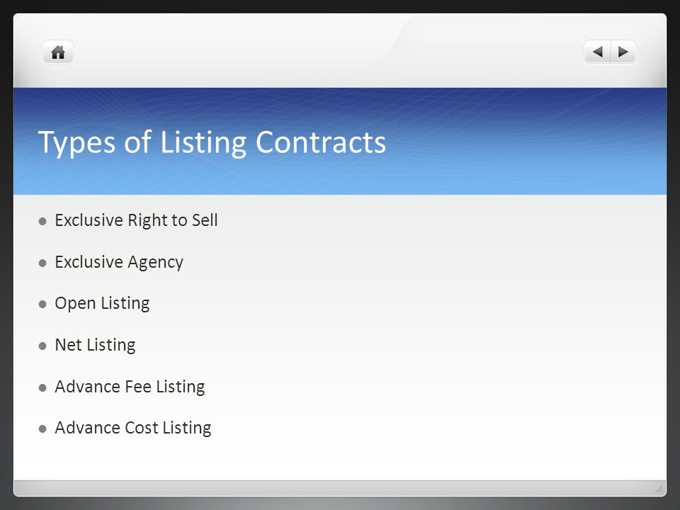 Types of Listing Contracts