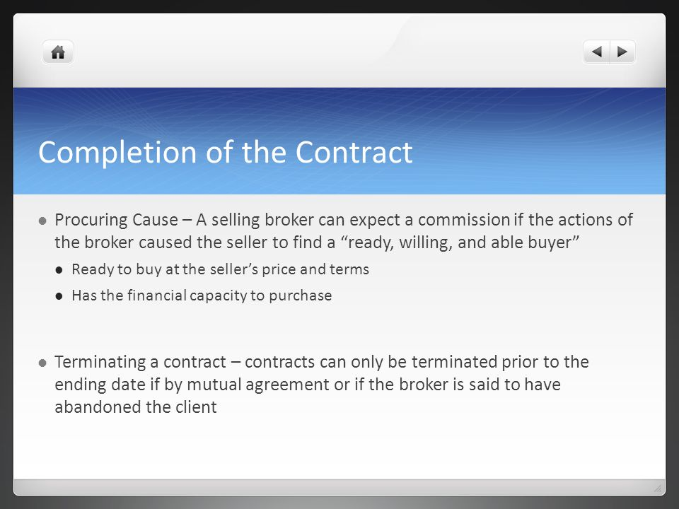Completion of the Contract