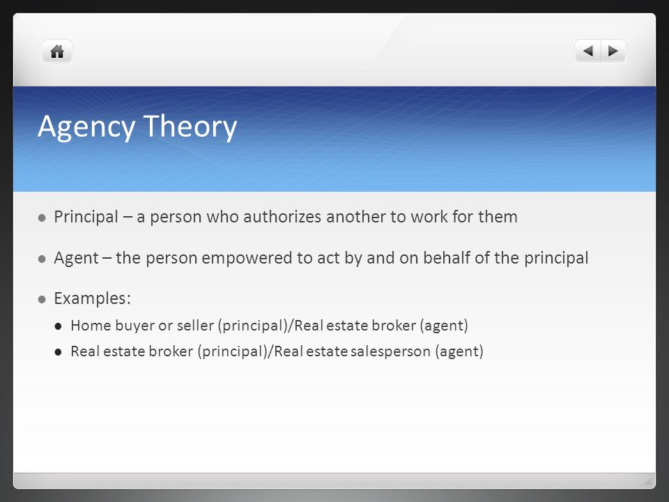 Agency Theory Principal – a person who authorizes another to work for them. Agent – the person empowered to act by and on behalf of the principal.