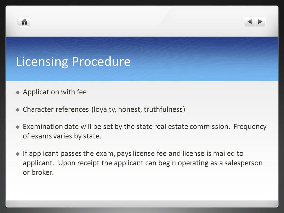 Licensing Procedure Application with fee