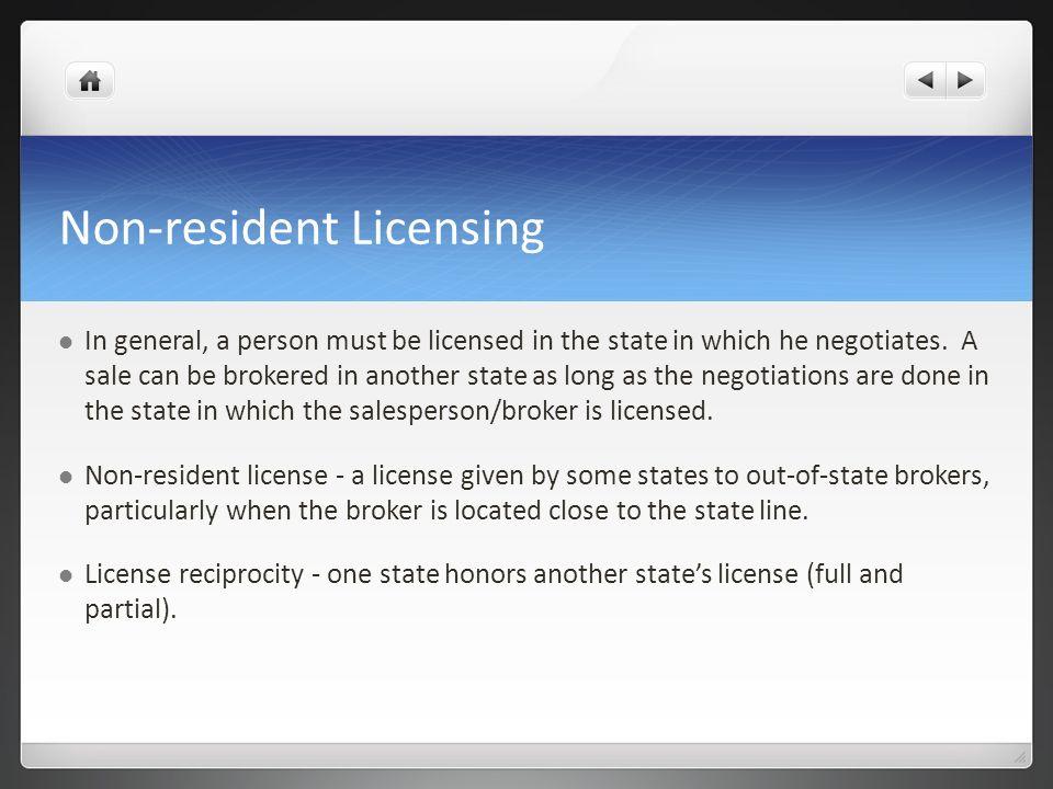 Non-resident Licensing