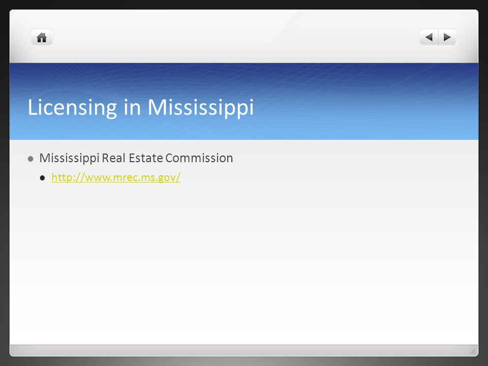 Licensing in Mississippi