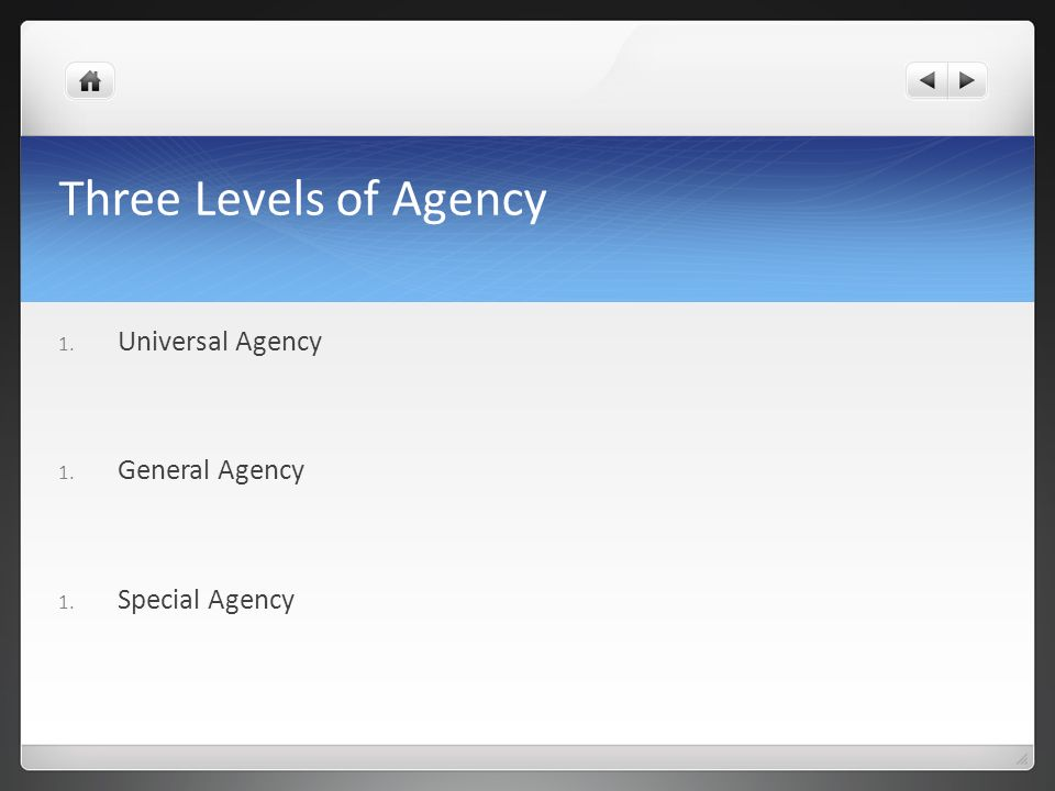 Three Levels of Agency Universal Agency General Agency Special Agency