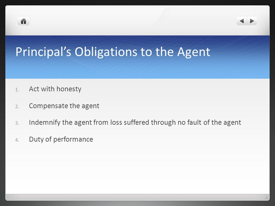 Principal's Obligations to the Agent