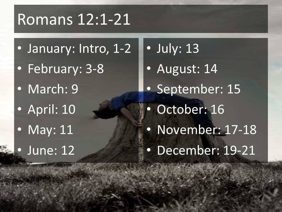 Romans 12:1-21 January: Intro, 1-2 February: 3-8 March: 9 April: 10