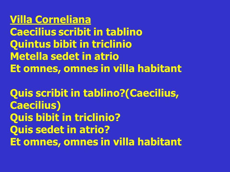 Villa Corneliana Caecilius scribit in tablino Quintus bibit in triclinio Metella sedet in atrio Et omnes, omnes in villa habitant Quis scribit in tablino (Caecilius, Caecilius) Quis bibit in triclinio.