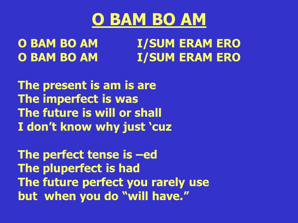 O BAM BO AM O BAM BO AM I/SUM ERAM ERO The present is am is are