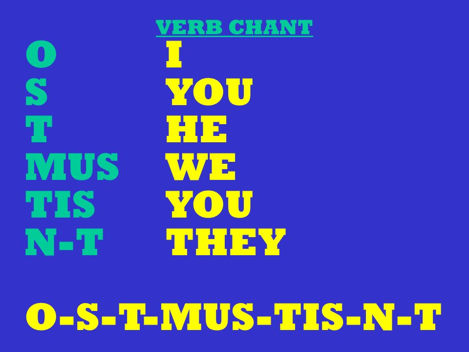 VERB CHANT O I S YOU T HE MUS WE TIS YOU N-T THEY O-S-T-MUS-TIS-N-T