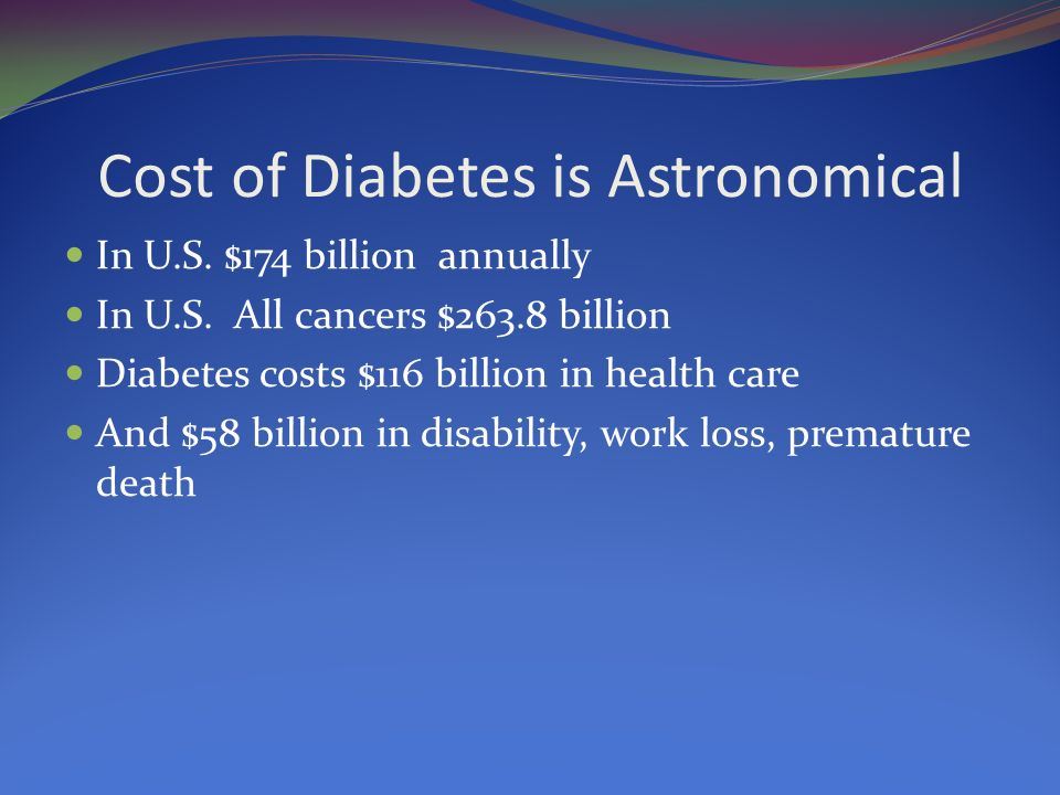 Cost of Diabetes is Astronomical
