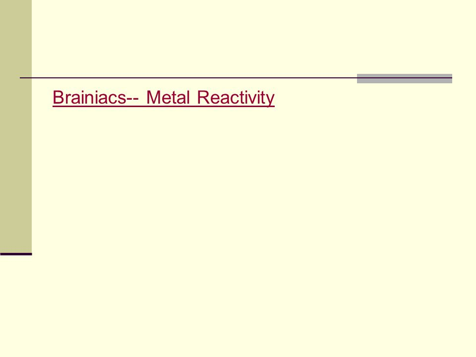 Brainiacs-- Metal Reactivity