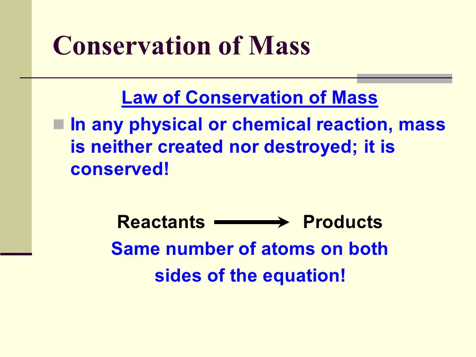 Law of Conservation of Mass Same number of atoms on both