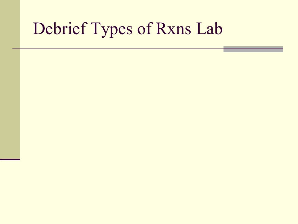 Debrief Types of Rxns Lab
