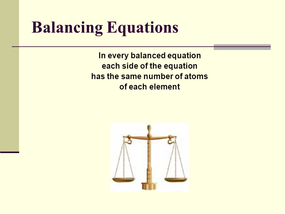 Balancing Equations In every balanced equation