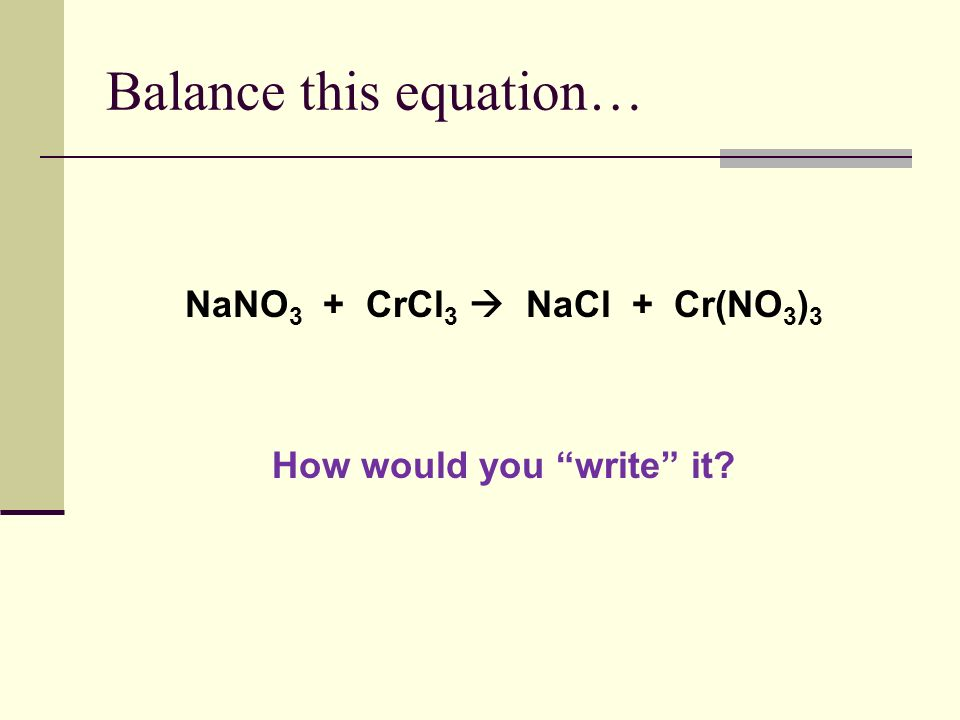 Balance this equation…
