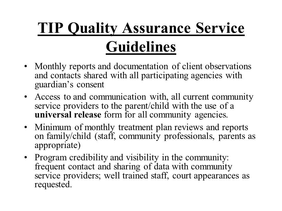 TIP Quality Assurance Service Guidelines