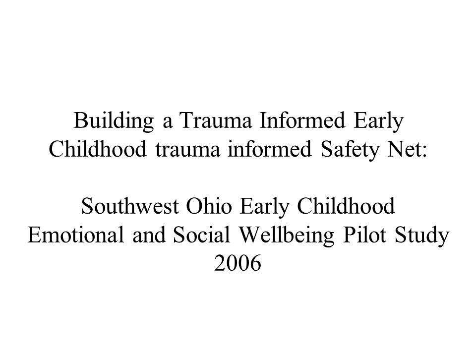 Building a Trauma Informed Early Childhood trauma informed Safety Net: Southwest Ohio Early Childhood Emotional and Social Wellbeing Pilot Study 2006