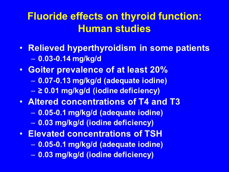 Fluoride effects on thyroid function: Human studies