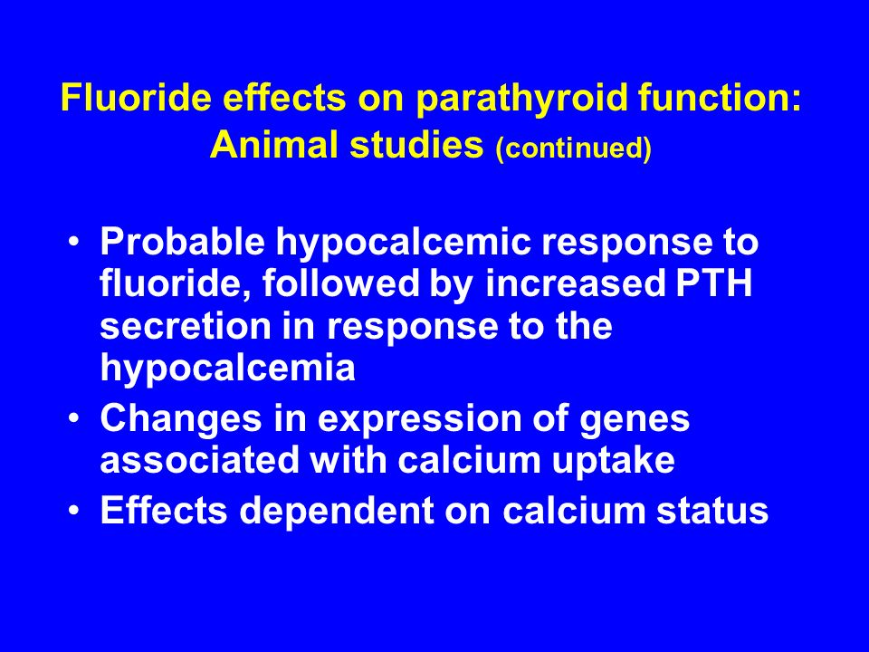 Fluoride effects on parathyroid function: Animal studies (continued)