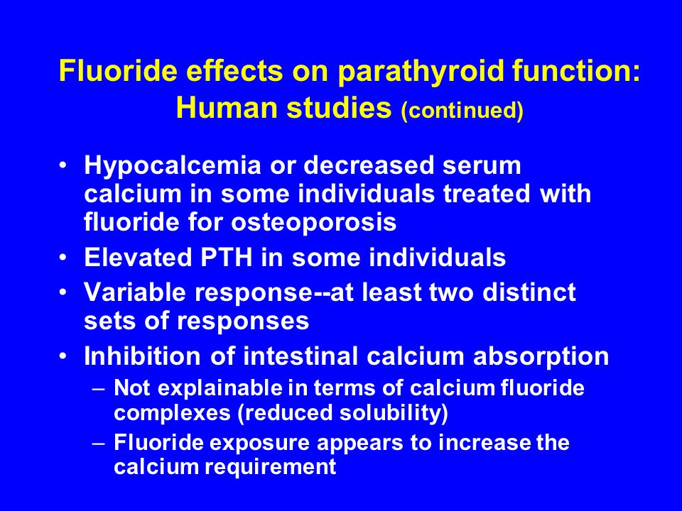 Fluoride effects on parathyroid function: Human studies (continued)