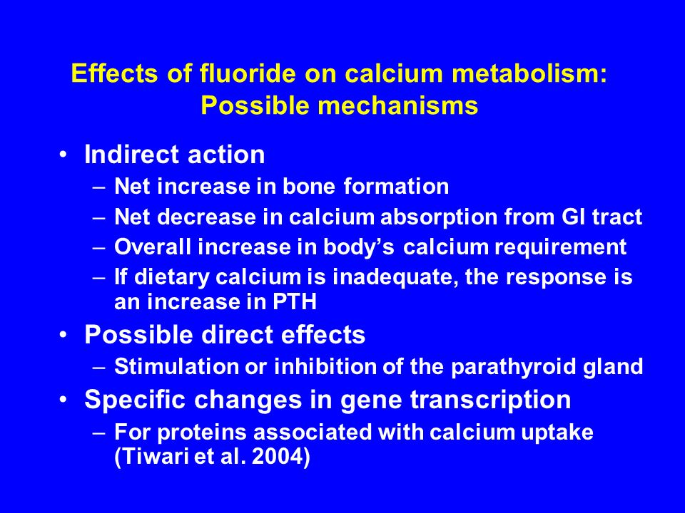 Effects of fluoride on calcium metabolism: Possible mechanisms
