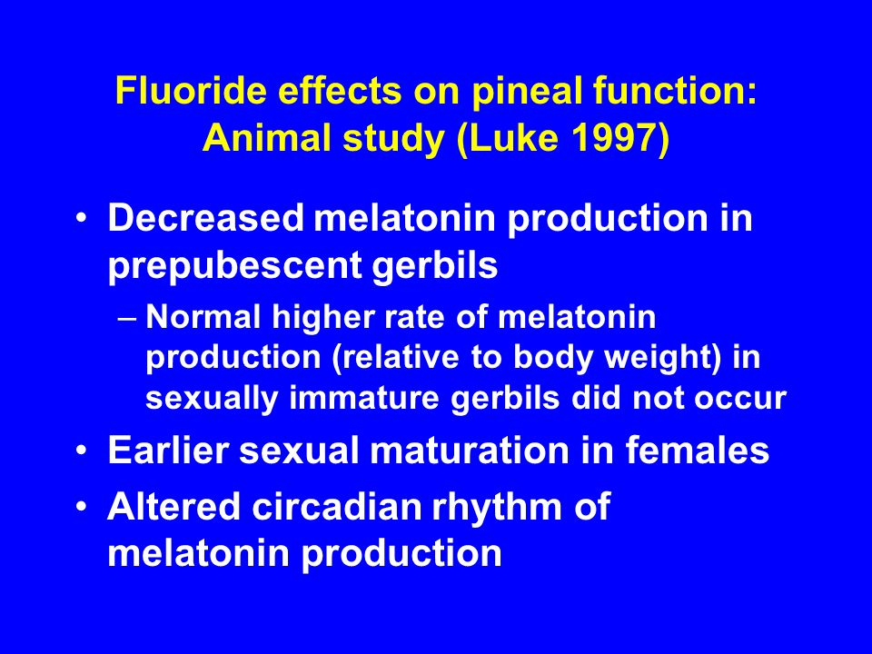 Fluoride effects on pineal function: Animal study (Luke 1997)