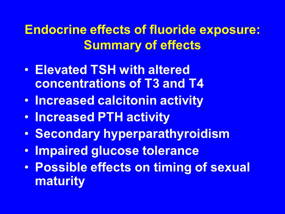 Endocrine effects of fluoride exposure: Summary of effects
