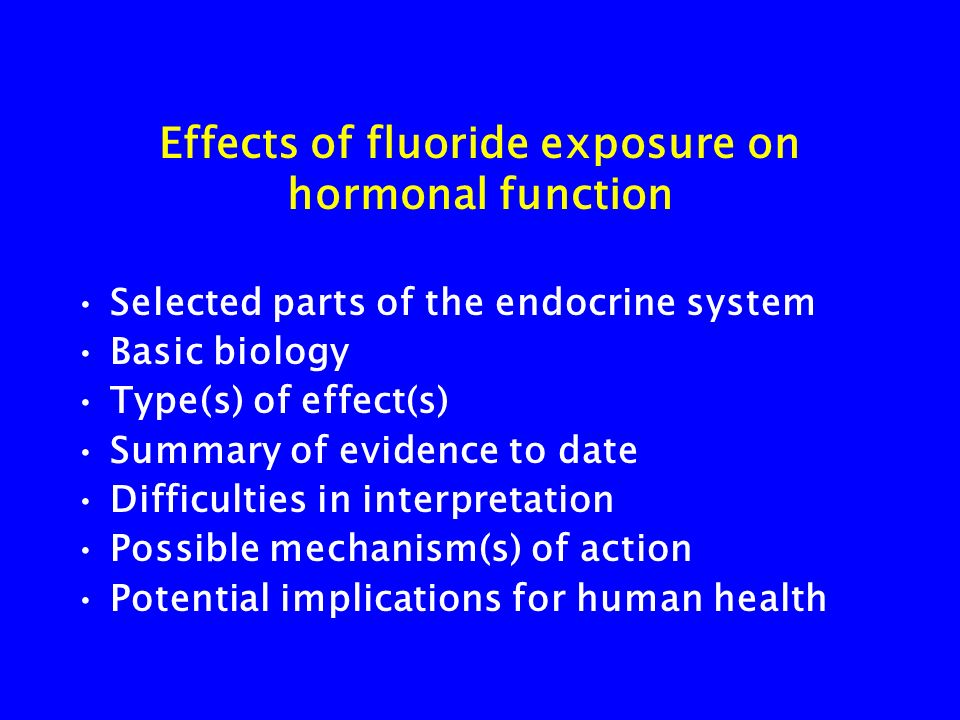 Effects of fluoride exposure on hormonal function