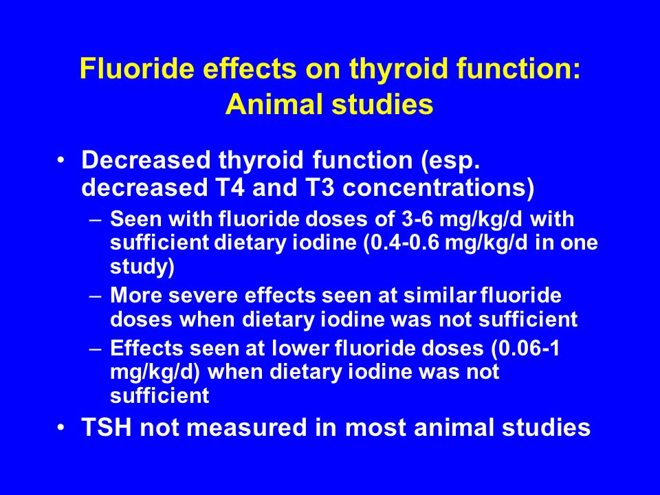 Fluoride effects on thyroid function: Animal studies