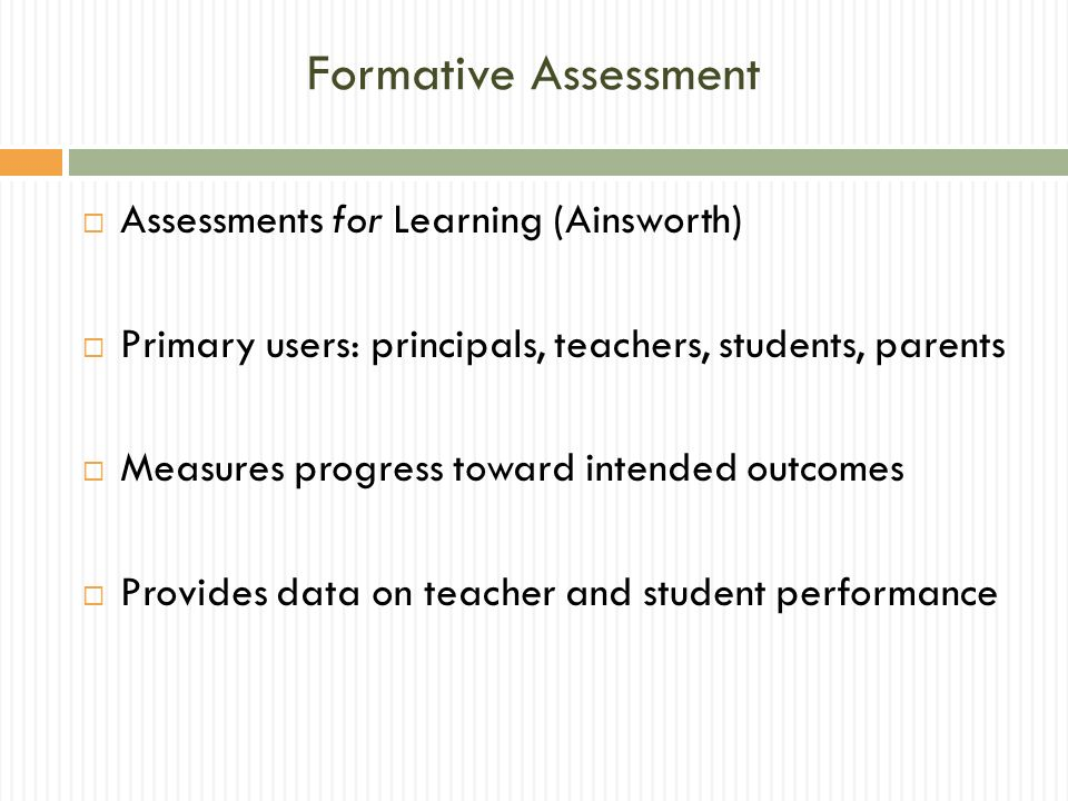 Formative Assessment Assessments for Learning (Ainsworth)