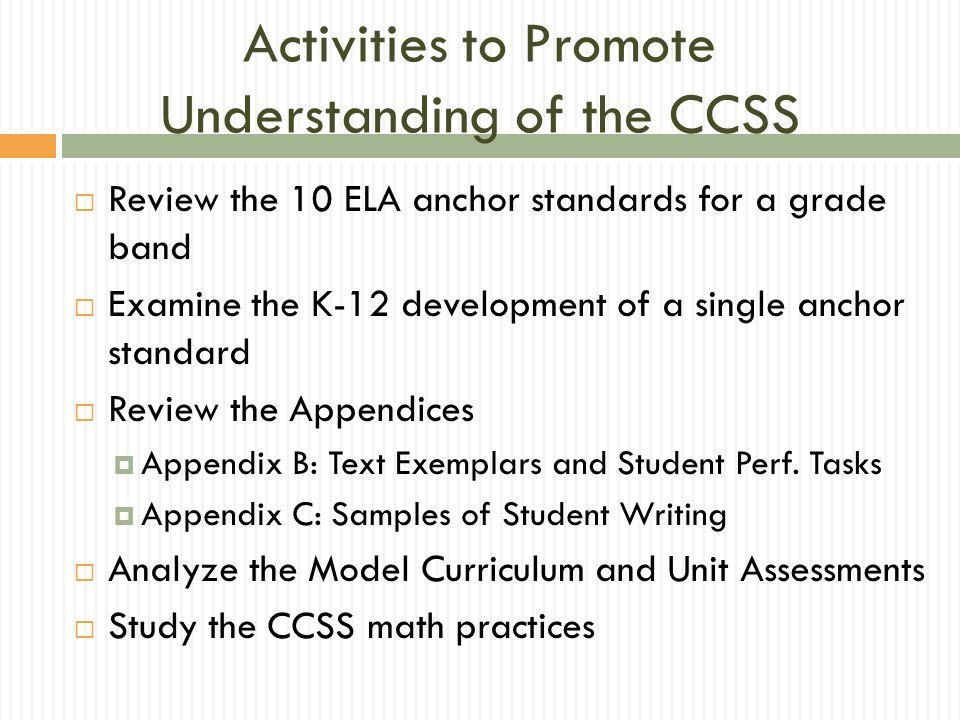 Activities to Promote Understanding of the CCSS
