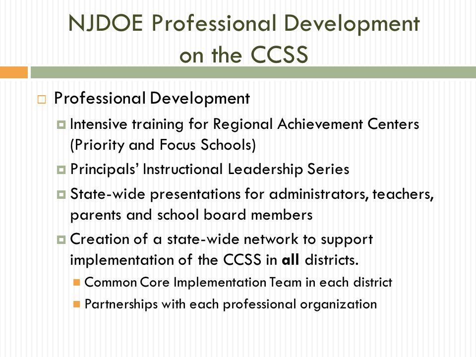 NJDOE Professional Development on the CCSS
