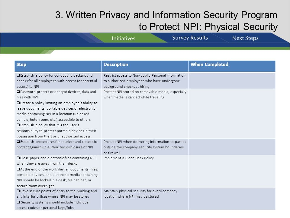 3. Written Privacy and Information Security Program