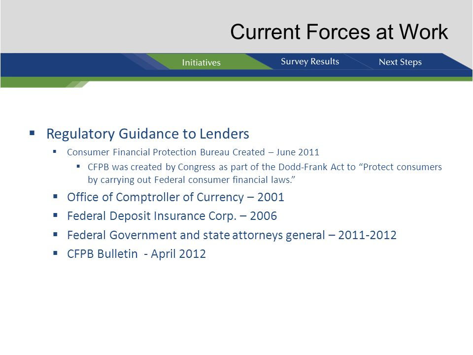Current Forces at Work Regulatory Guidance to Lenders