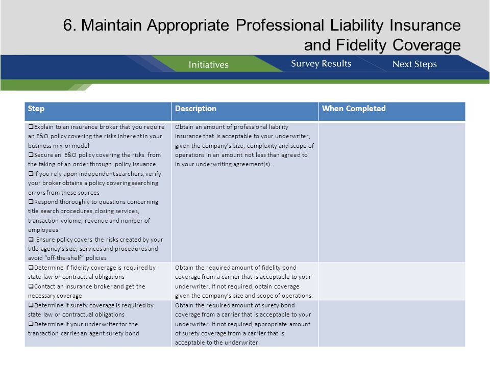 6. Maintain Appropriate Professional Liability Insurance and Fidelity Coverage