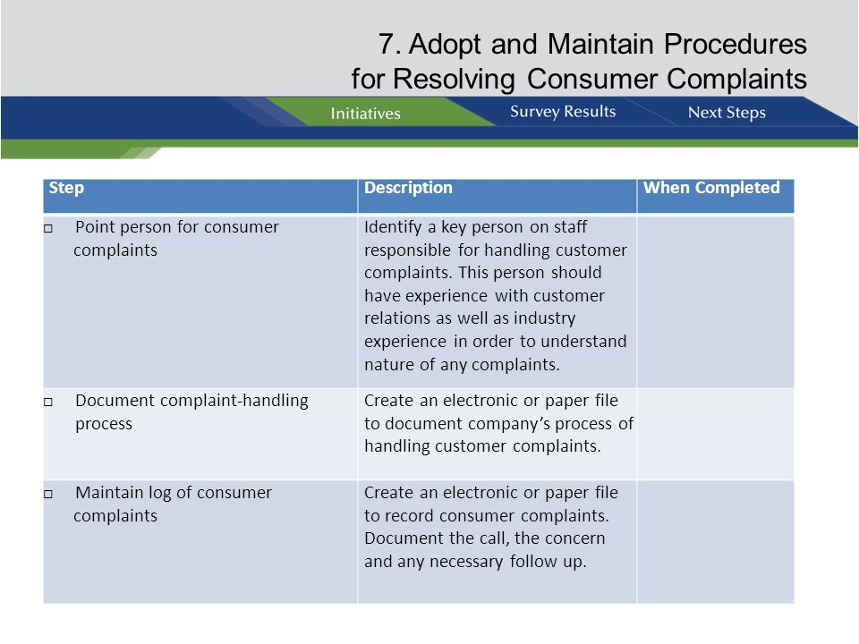 7. Adopt and Maintain Procedures for Resolving Consumer Complaints
