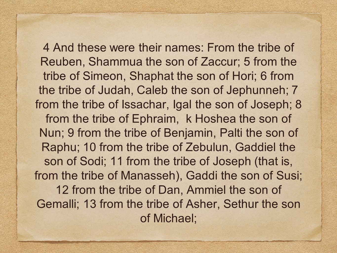 4 And these were their names: From the tribe of Reuben, Shammua the son of Zaccur; 5 from the tribe of Simeon, Shaphat the son of Hori; 6 from the tribe of Judah, Caleb the son of Jephunneh; 7 from the tribe of Issachar, Igal the son of Joseph; 8 from the tribe of Ephraim, k Hoshea the son of Nun; 9 from the tribe of Benjamin, Palti the son of Raphu; 10 from the tribe of Zebulun, Gaddiel the son of Sodi; 11 from the tribe of Joseph (that is, from the tribe of Manasseh), Gaddi the son of Susi; 12 from the tribe of Dan, Ammiel the son of Gemalli; 13 from the tribe of Asher, Sethur the son of Michael;