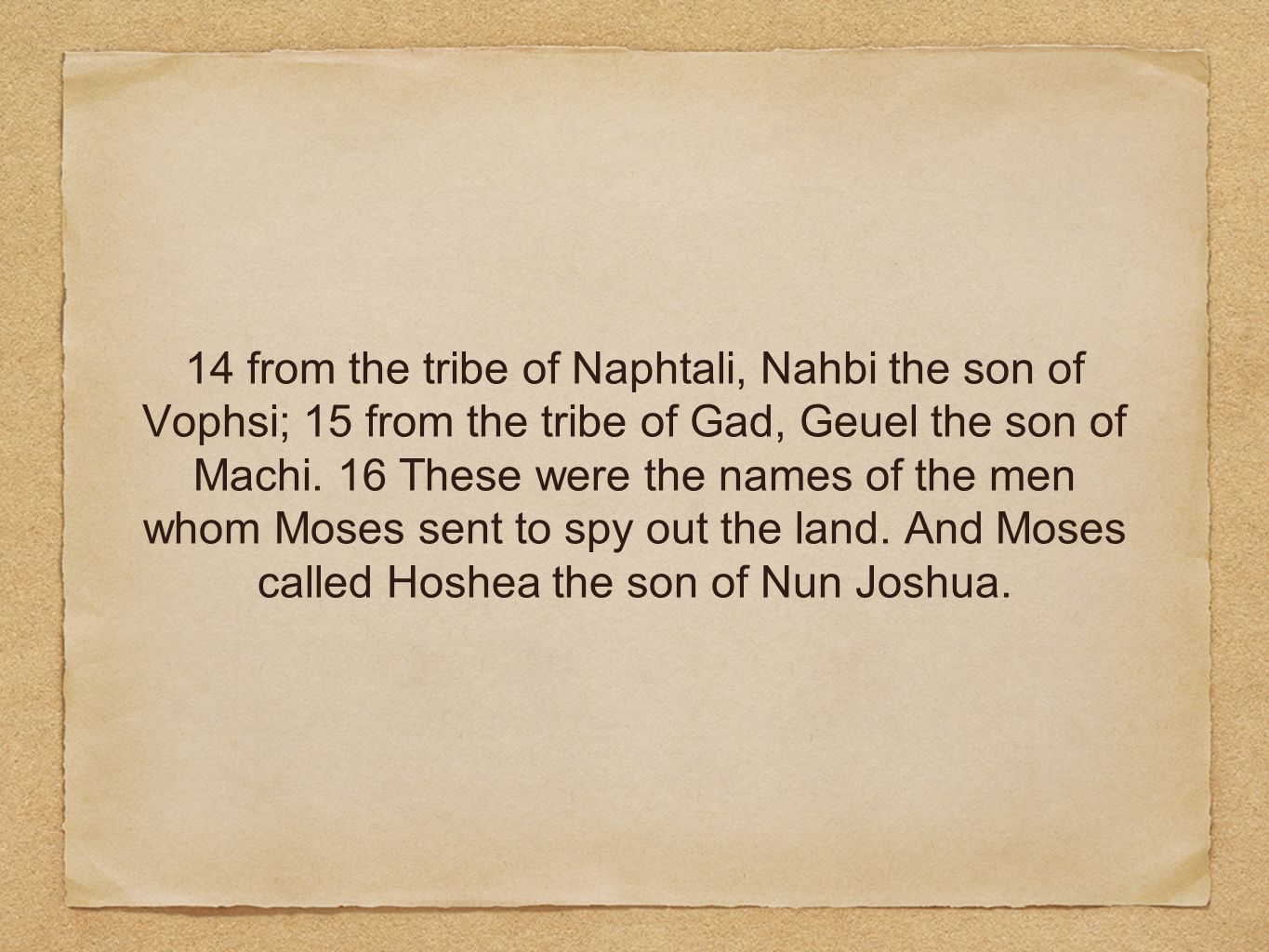 14 from the tribe of Naphtali, Nahbi the son of Vophsi; 15 from the tribe of Gad, Geuel the son of Machi.