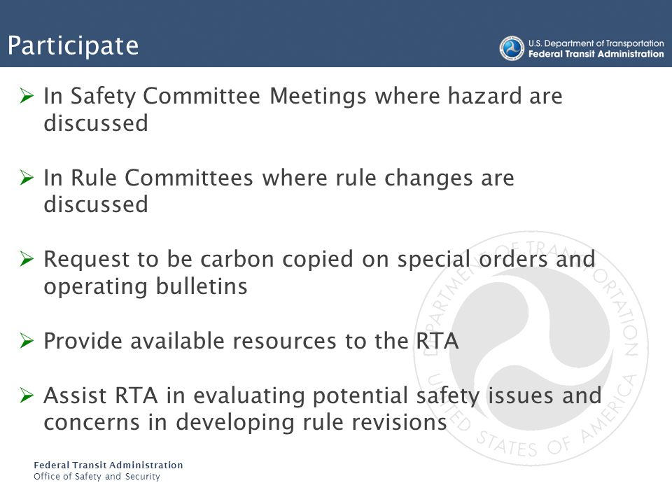 Participate In Safety Committee Meetings where hazard are discussed