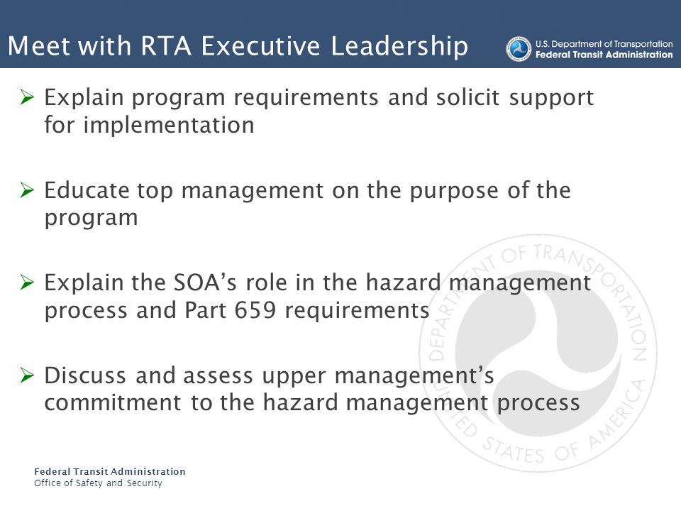 Meet with RTA Executive Leadership